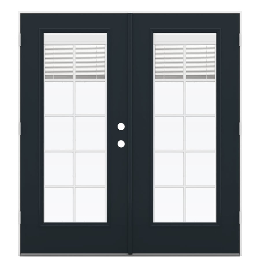 ReliaBilt 71.5-in x 79.5-in Blinds Between the Glass Right-Hand Outswing Black Fiberglass French Patio Door
