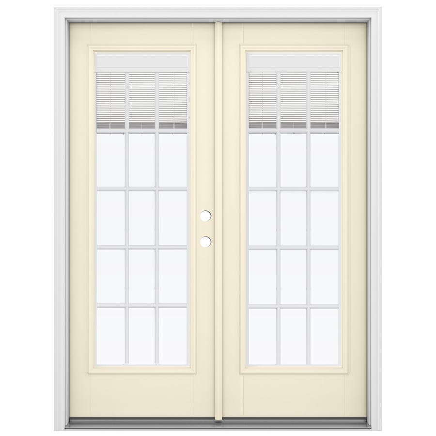 ReliaBilt 59.5-in Blinds Between the Glass Bisque Fiberglass French Inswing Patio Door