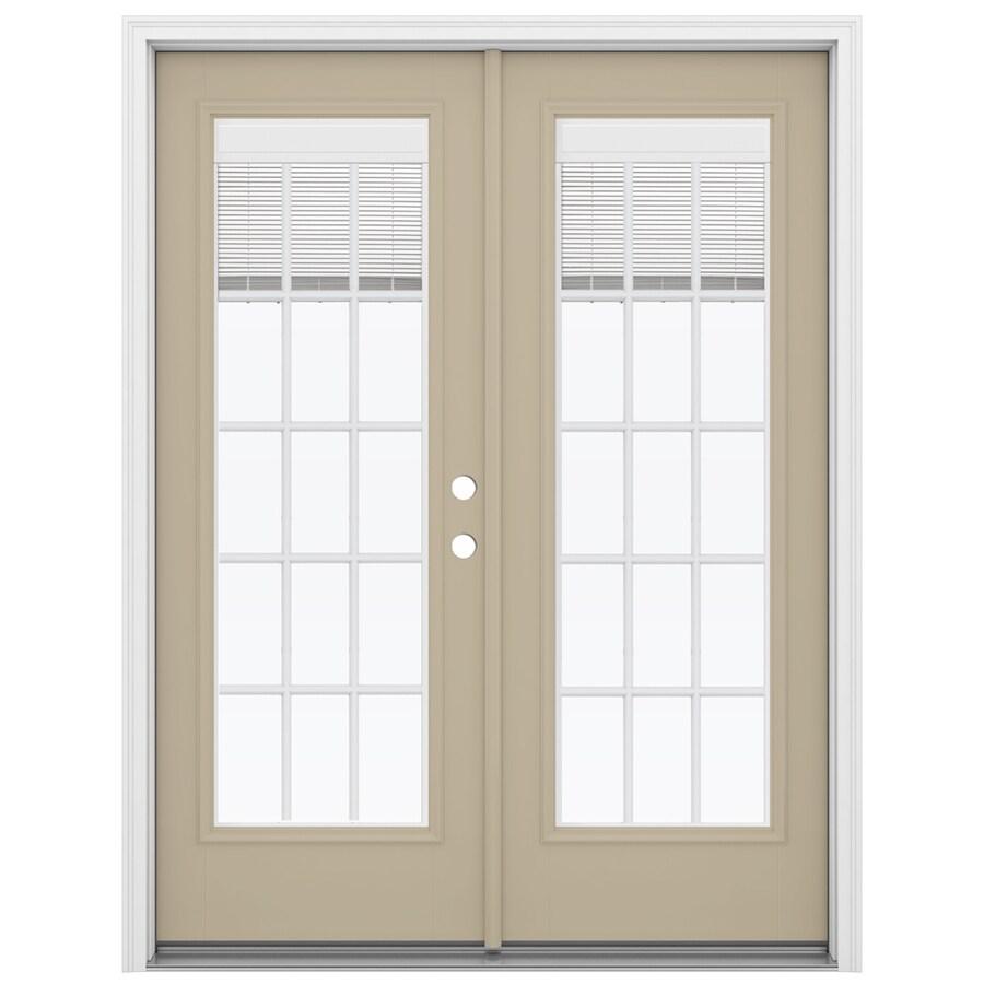 ReliaBilt 59.5-in Blinds Between the Glass Sandy Shore Fiberglass French Inswing Patio Door