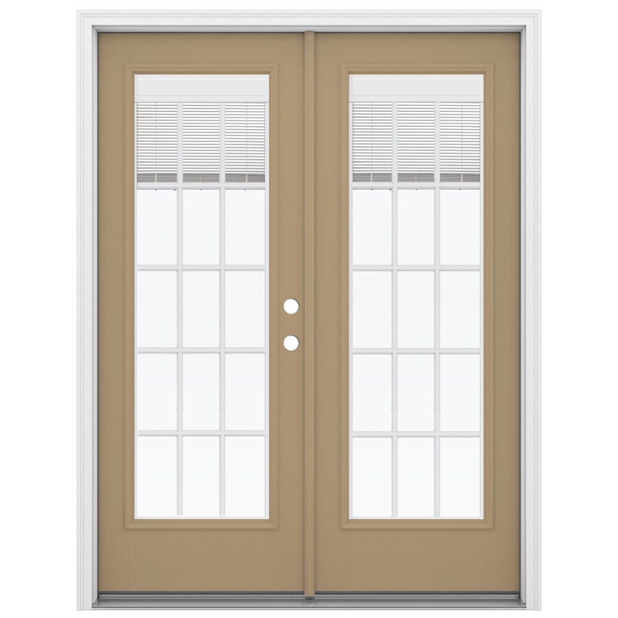 ReliaBilt 59.5-in x 79.5-in Blinds Between the Glass Left-Hand Inswing Fiberglass French Patio Door