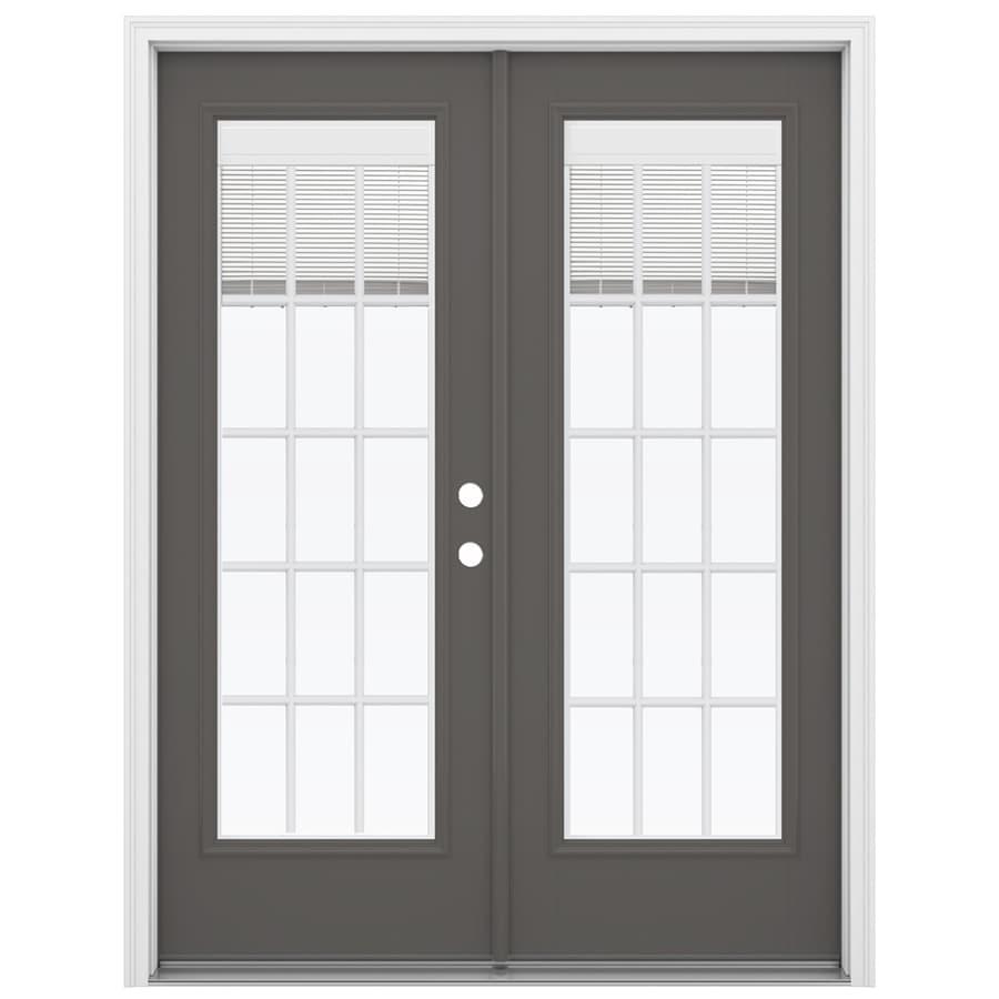 ReliaBilt 59.5-in x 79.5-in Blinds Between the Glass Left-Hand Inswing Gray Fiberglass French Patio Door