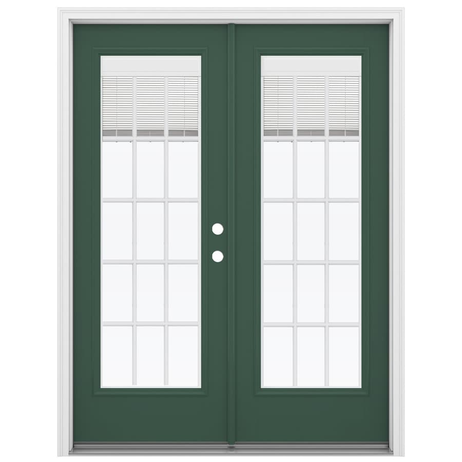 ReliaBilt 59.5-in Blinds Between the Glass Evergreen Fiberglass French Inswing Patio Door