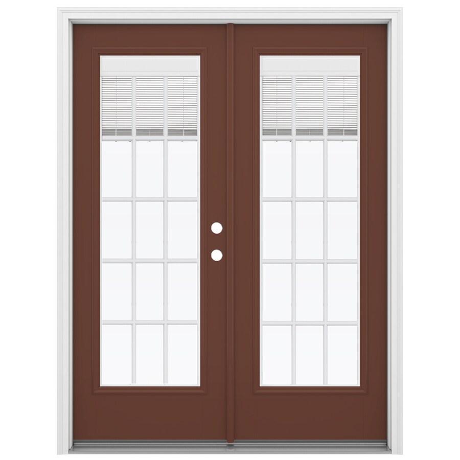 ReliaBilt 59.5-in Blinds Between the Glass Foxtail Fiberglass French Inswing Patio Door