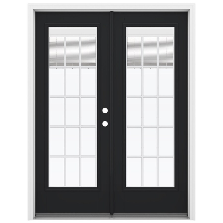 ReliaBilt 59.5-in Blinds Between the Glass Peppercorn Fiberglass French Inswing Patio Door