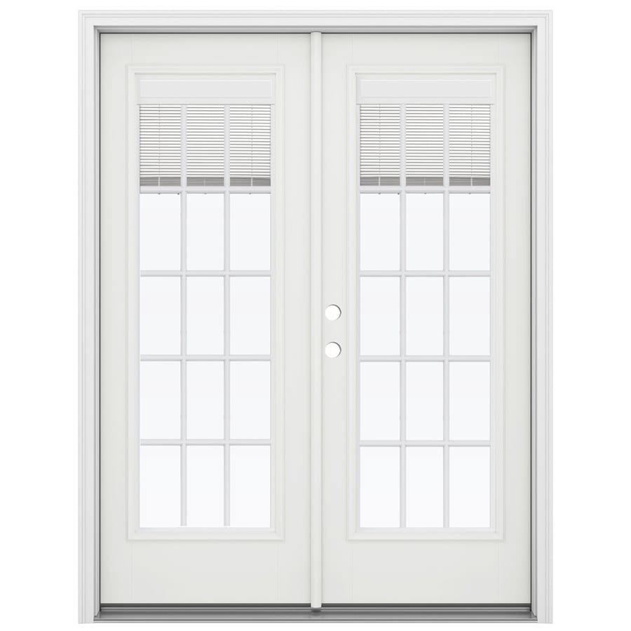 ReliaBilt 59.5-in Blinds Between the Glass Arctic White Fiberglass French Inswing Patio Door