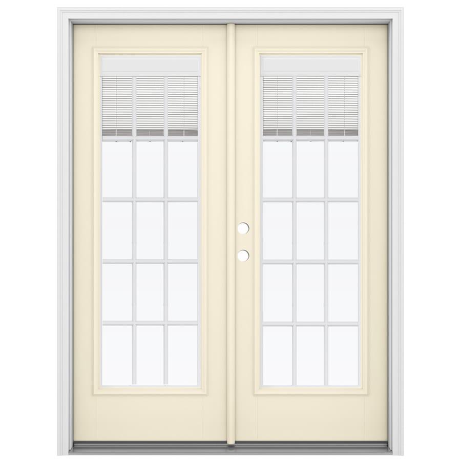ReliaBilt 59.5-in Blinds Between the Glass Bisque Fiberglass French Inswing Patio Door