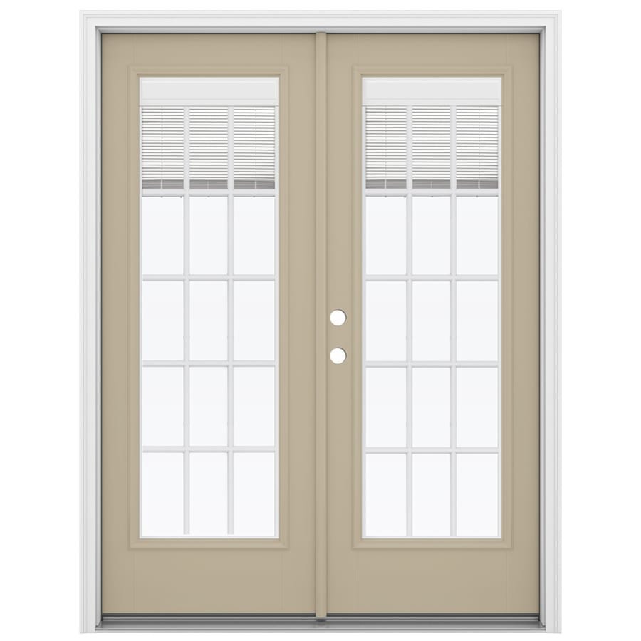 ReliaBilt 59.5-in Blinds Between the Glass Sandy Shore Fiberglass French Inswing Patio Door