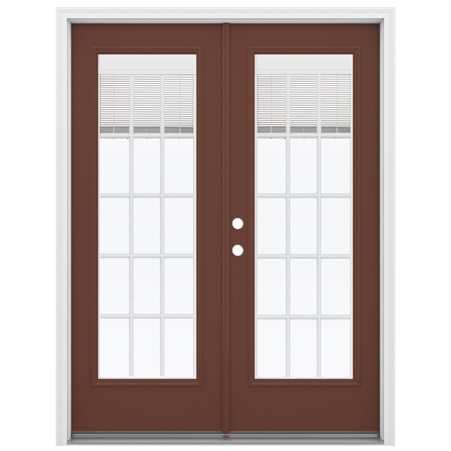 ReliaBilt 59.5-in Blinds Between the Glass Foxtail Fiberglass French Inswing Patio Door