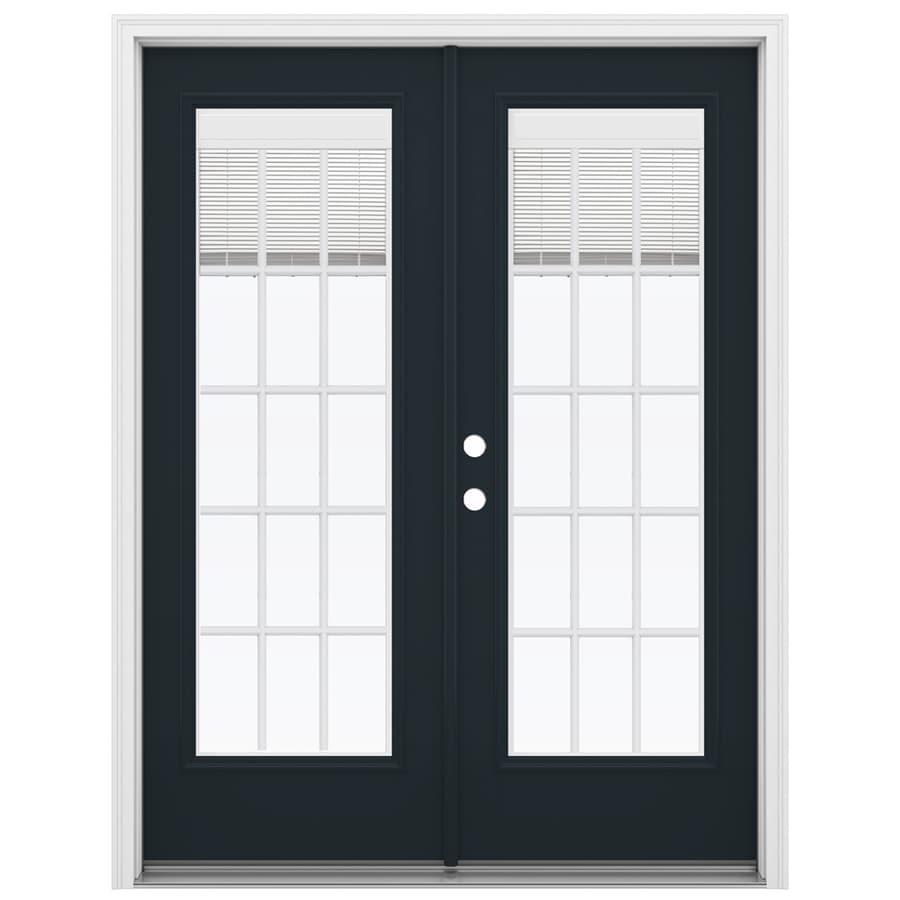 ReliaBilt 59.5-in x 79.5-in Blinds Between the Glass Right-Hand Inswing Black Fiberglass French Patio Door