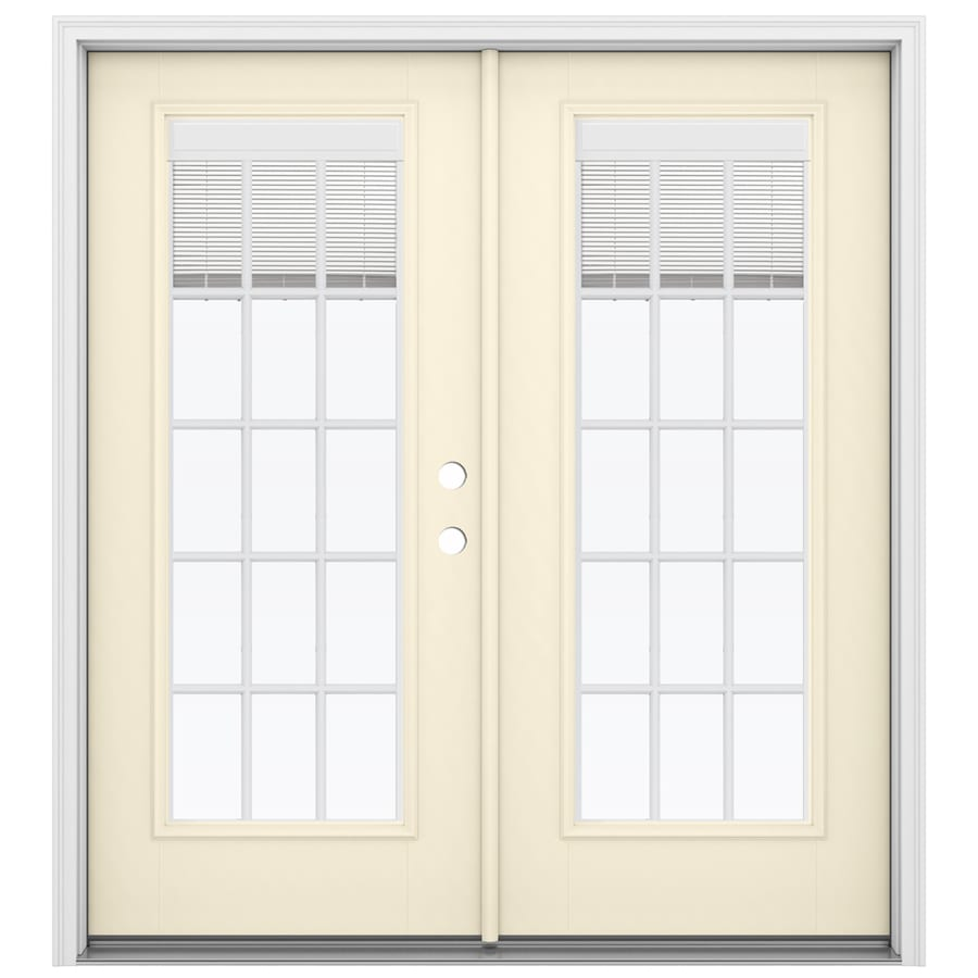 ReliaBilt 71.5-in Blinds Between the Glass Bisque Fiberglass French Inswing Patio Door