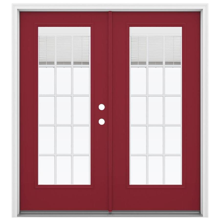 Blinds For French Doors Lowes shop reliabilt 71.5-in blinds between the glass roma red