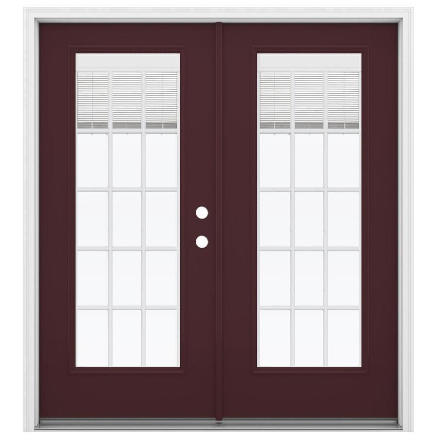 ReliaBilt 71.5-in Blinds Between the Glass Currant Fiberglass French Inswing Patio Door