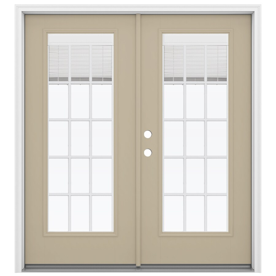 ReliaBilt 71.5-in Blinds Between the Glass Sandy Shore Fiberglass French Inswing Patio Door