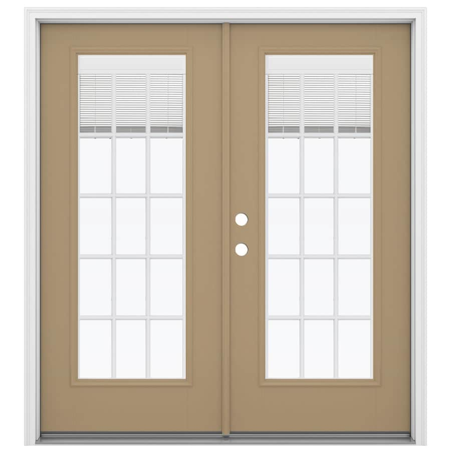 ReliaBilt 71.5-in Blinds Between the Glass Warm Wheat Fiberglass French Inswing Patio Door
