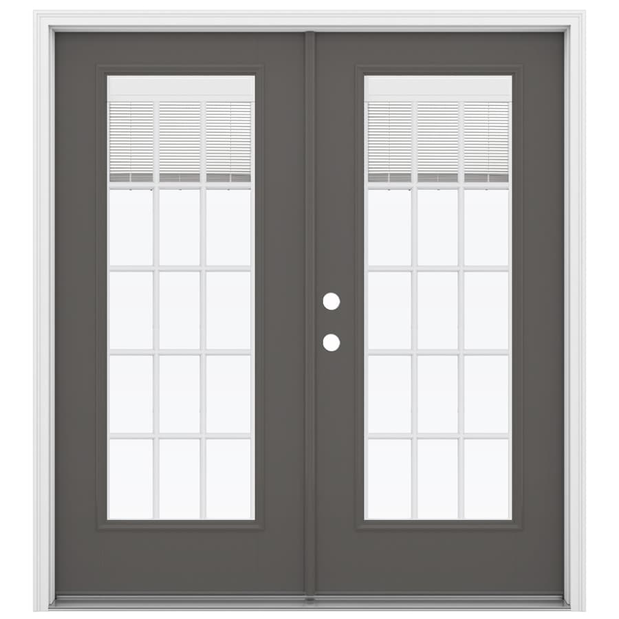 ReliaBilt 71.5-in Blinds Between the Glass Timber Gray Fiberglass French Inswing Patio Door