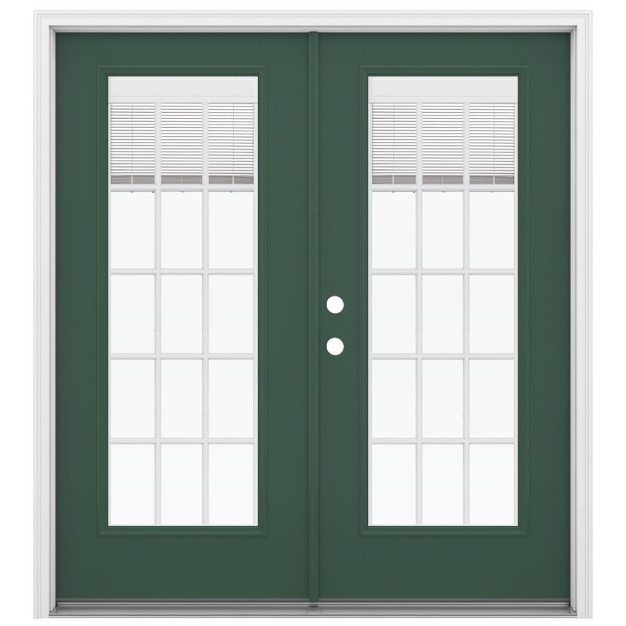 ReliaBilt 71.5-in x 79.5-in Blinds Between the Glass Right-Hand Inswing Green Fiberglass French Patio Door