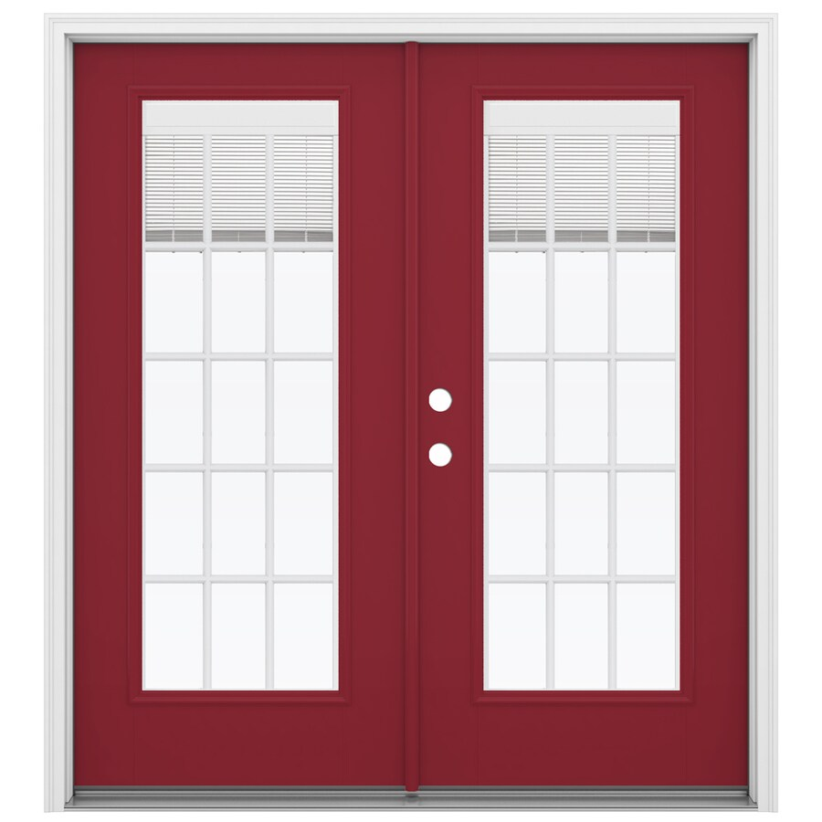 ReliaBilt 71.5-in Blinds Between the Glass Roma Red Fiberglass French Inswing Patio Door