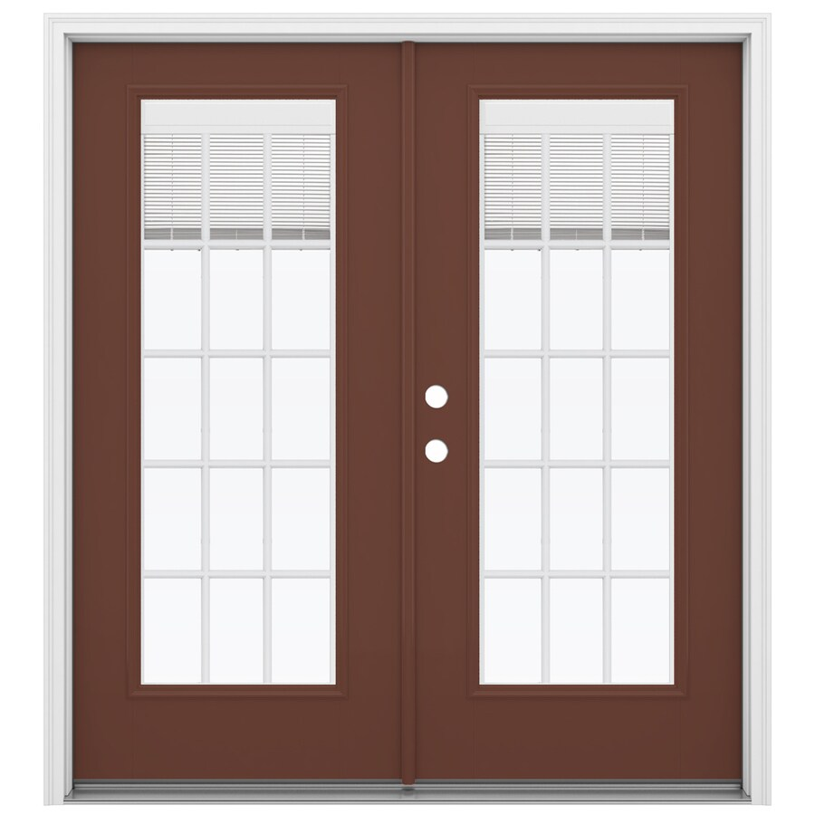 ReliaBilt 71.5-in x 79.5-in Blinds Between the Glass Right-Hand Inswing Brown Fiberglass French Patio Door