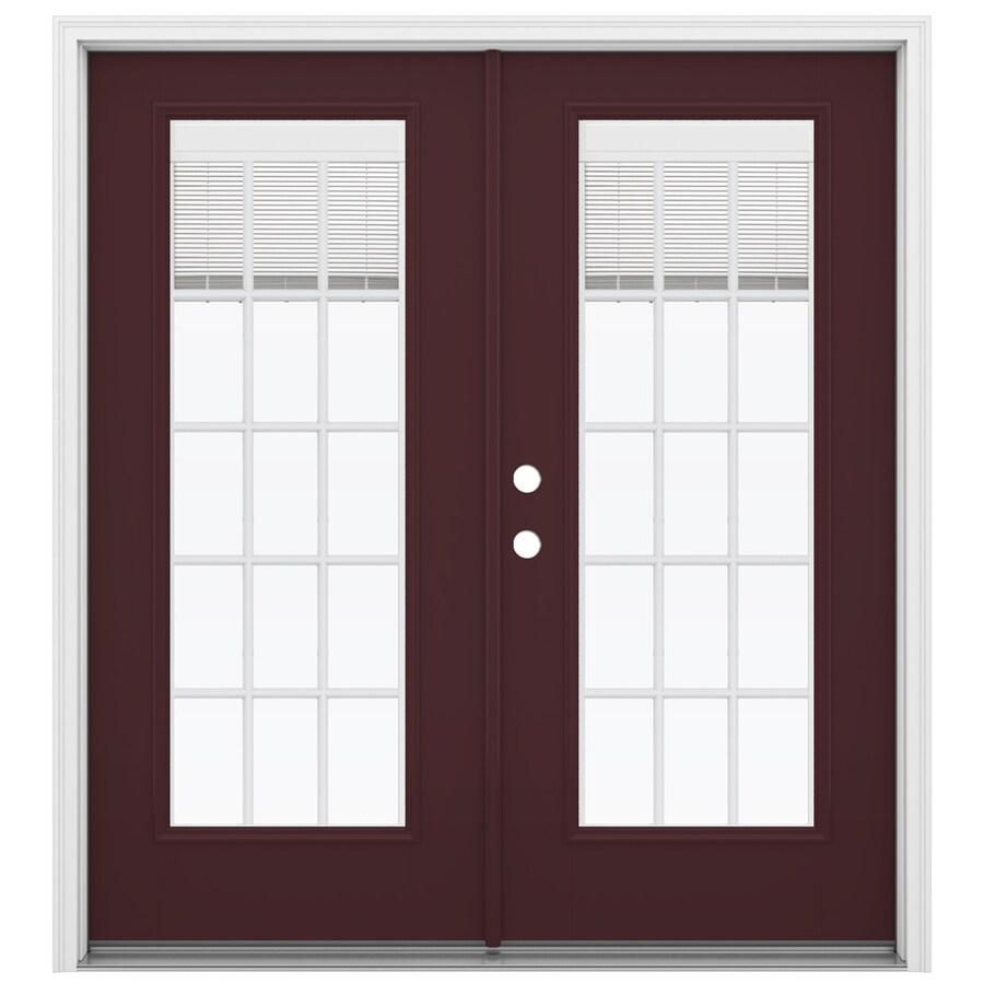 ReliaBilt 71.5-in Blinds Between the Glass Currant Fiberglass French Inswing Patio Door