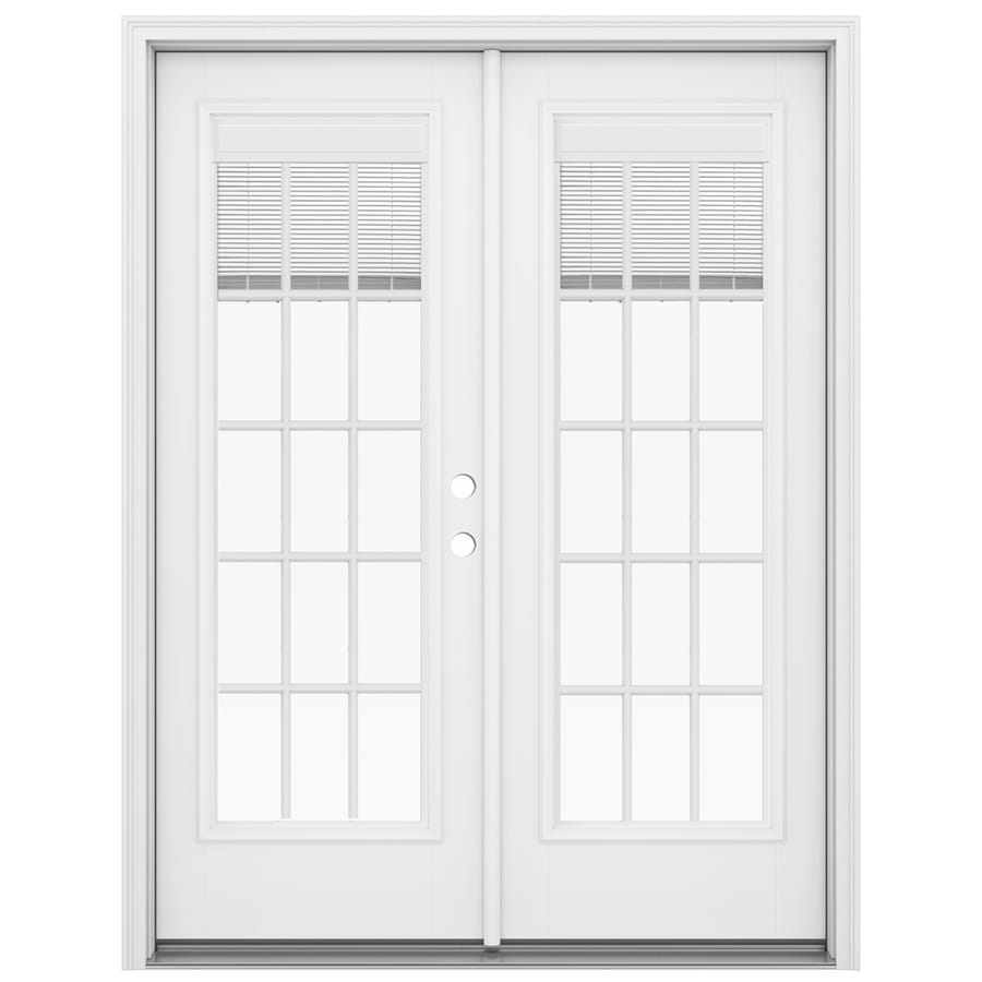 ReliaBilt 59.5-in x 79.5-in Blinds Between the Glass Left-Hand Outswing White Fiberglass French Patio Door