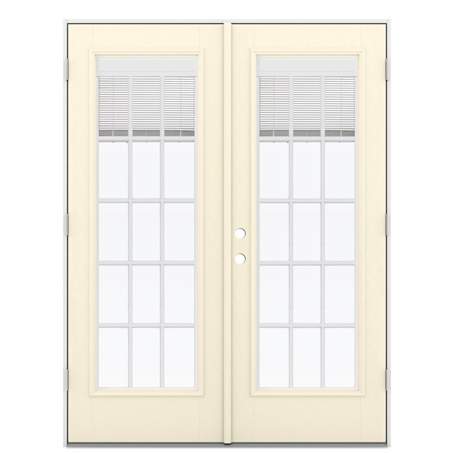 ReliaBilt 59.5-in Blinds Between the Glass Bisque Fiberglass French Outswing Patio Door