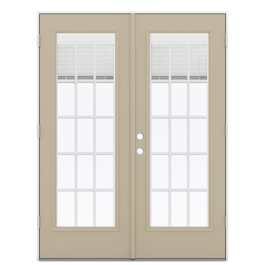 ReliaBilt 59.5-in Blinds Between the Glass Sandy Shore Fiberglass French Outswing Patio Door