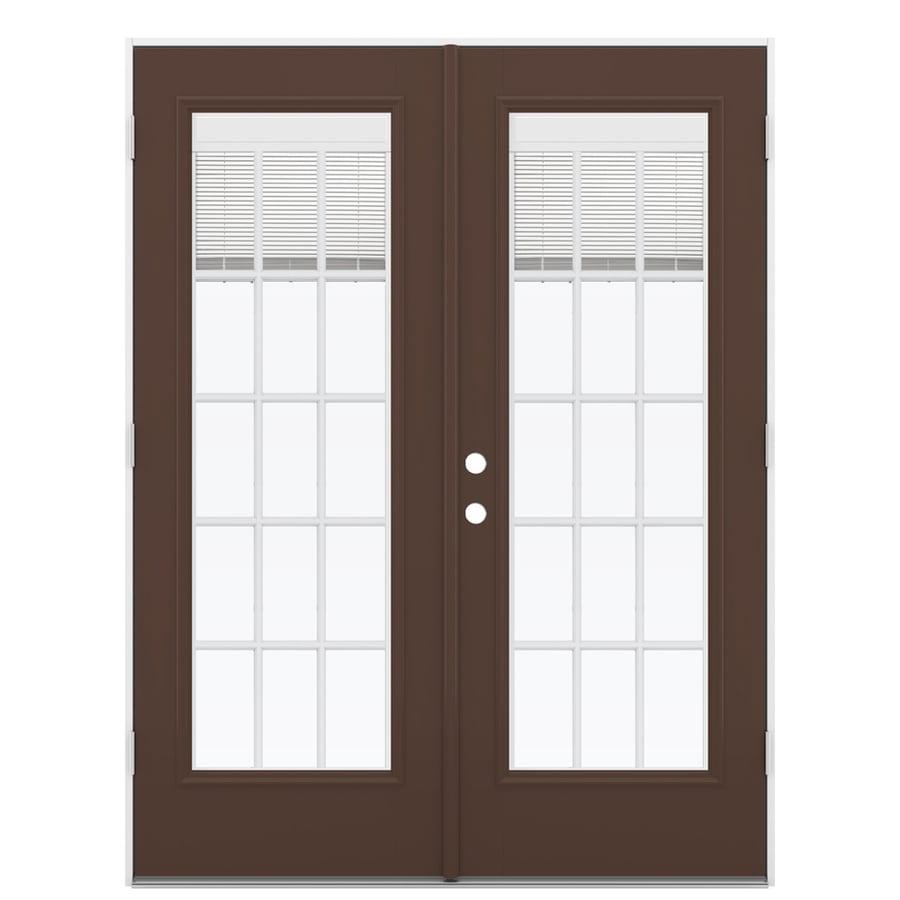 ReliaBilt 59.5-in x 79.5-in Blinds Between the Glass Left-Hand Outswing Brown Fiberglass French Patio Door
