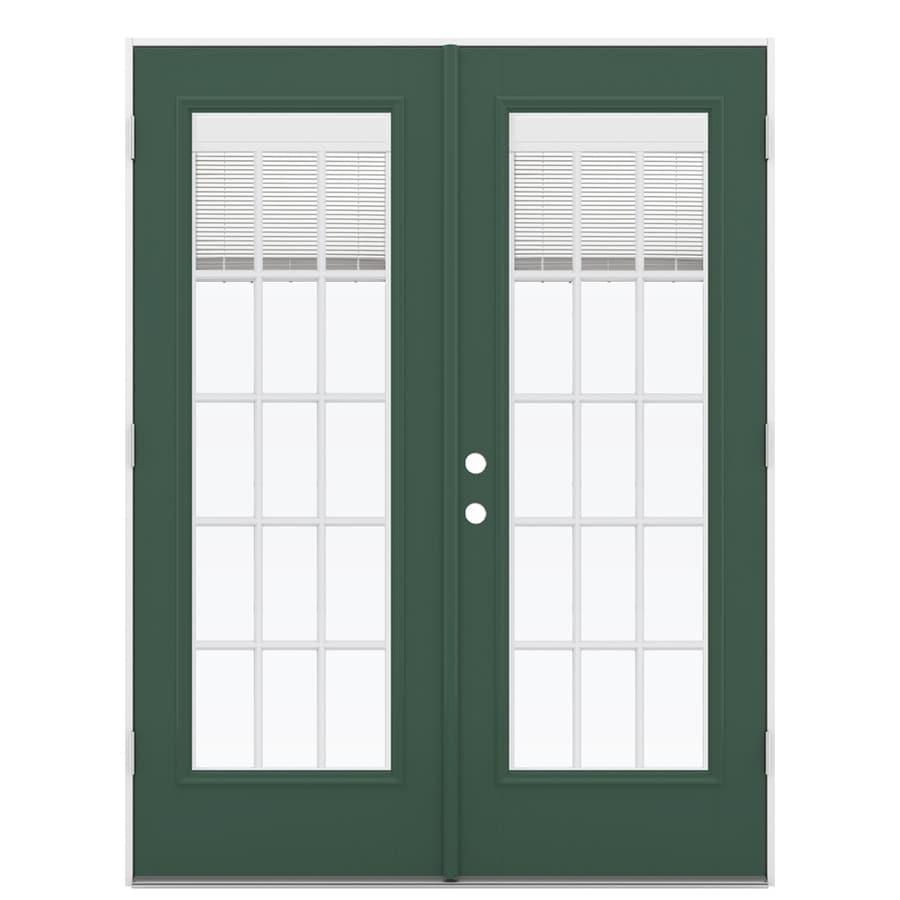 ReliaBilt 59.5-in x 78.625-in Blinds Between the Glass Left-Hand Outswing Green Fiberglass French Patio Door