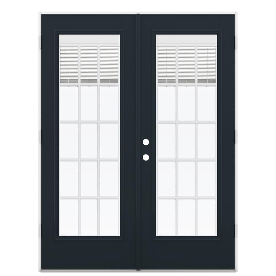 ReliaBilt 59.5-in x 79.5-in Blinds Between the Glass Left-Hand Outswing Black Fiberglass French Patio Door