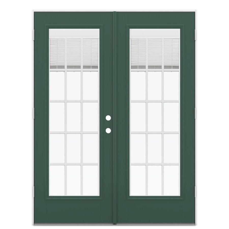 ReliaBilt 59.5-in Blinds Between the Glass Evergreen Fiberglass French Outswing Patio Door