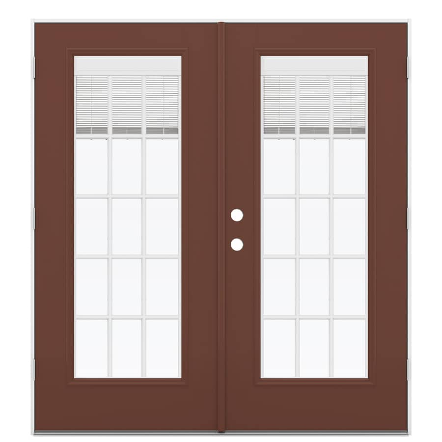 ReliaBilt 71.5-in Blinds Between the Glass Foxtail Fiberglass French Outswing Patio Door