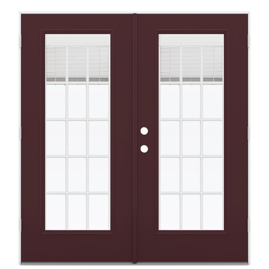 ReliaBilt 71.5-in Blinds Between the Glass Currant Fiberglass French Outswing Patio Door