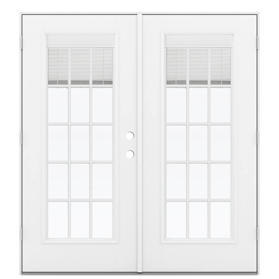 ReliaBilt 71.5-in x 79.5-in Blinds Between the Glass Right-Hand Outswing White Fiberglass French Patio Door