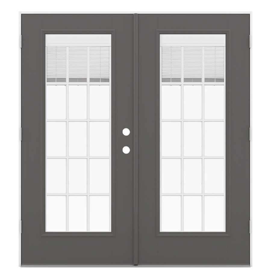 ReliaBilt 71.5-in Blinds Between the Glass Timber Gray Fiberglass French Outswing Patio Door