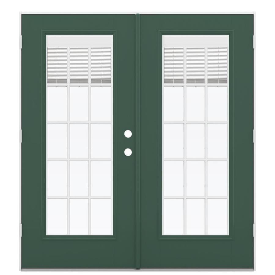 ReliaBilt 71.5-in Blinds Between the Glass Evergreen Fiberglass French Outswing Patio Door