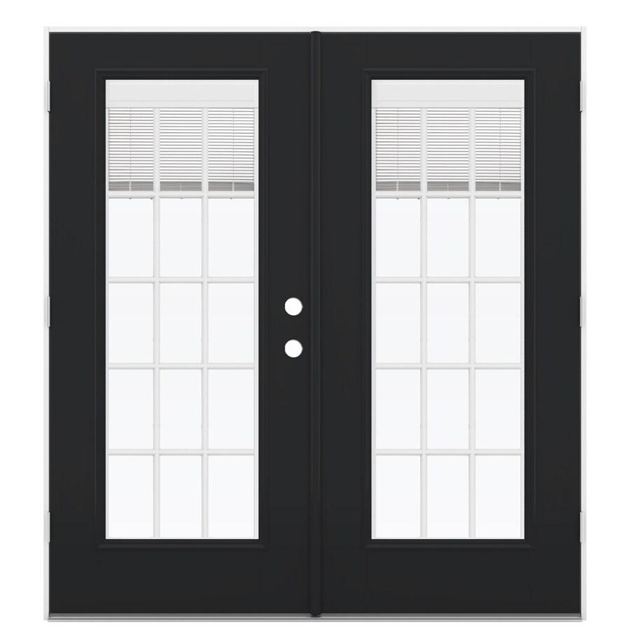 ReliaBilt 71.5-in Blinds Between the Glass Peppercorn Fiberglass French Outswing Patio Door