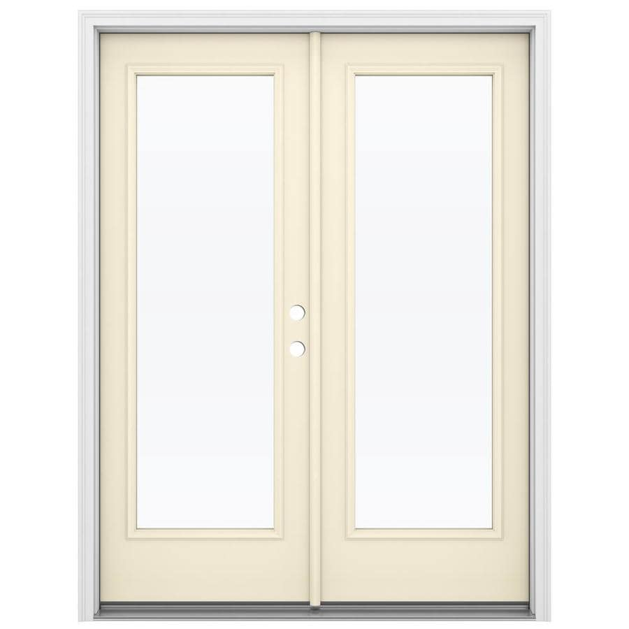 ReliaBilt 59.5-in 1-Lite Glass Bisque Steel French Inswing Patio Door