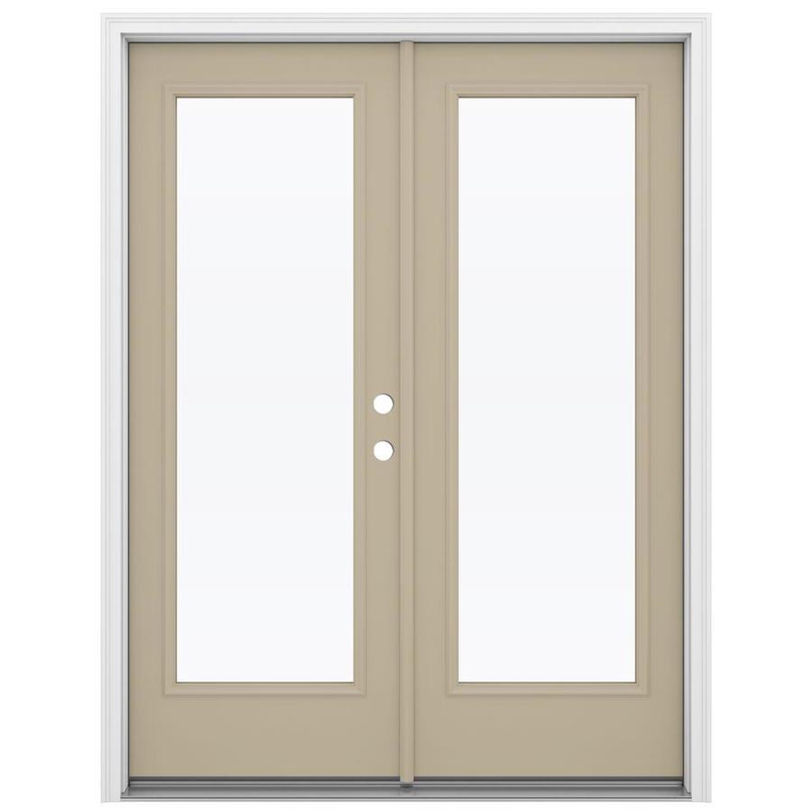 ReliaBilt 59.5-in 1-Lite Glass Sandy Shore Steel French Inswing Patio Door