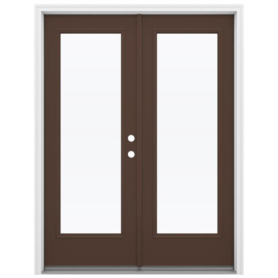 Shop Jeld Wen 59 5 In X 79 5 In Clear Glass Left Hand Inswing Brown Steel French Patio Door At