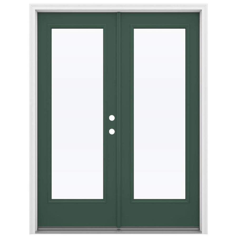 ReliaBilt 59.5-in 1-Lite Glass Evergreen Steel French Inswing Patio Door
