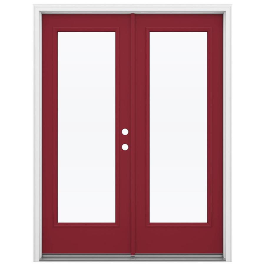ReliaBilt 59.5-in 1-Lite Glass Roma Red Steel French Inswing Patio Door