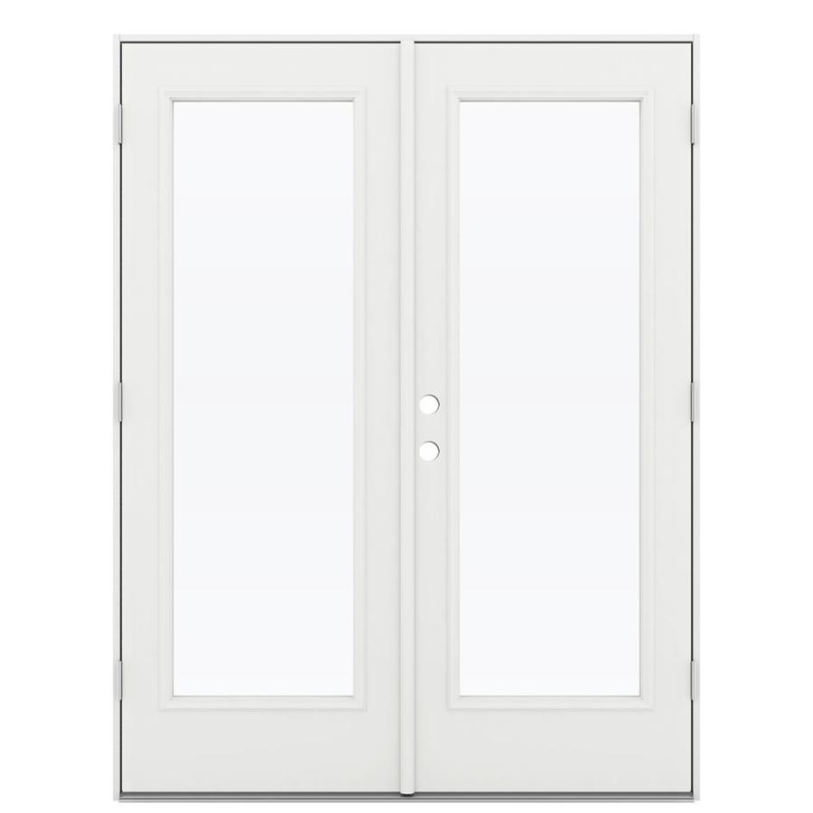 ReliaBilt 59.5-in 1-Lite Glass Arctic White Steel French Outswing Patio Door