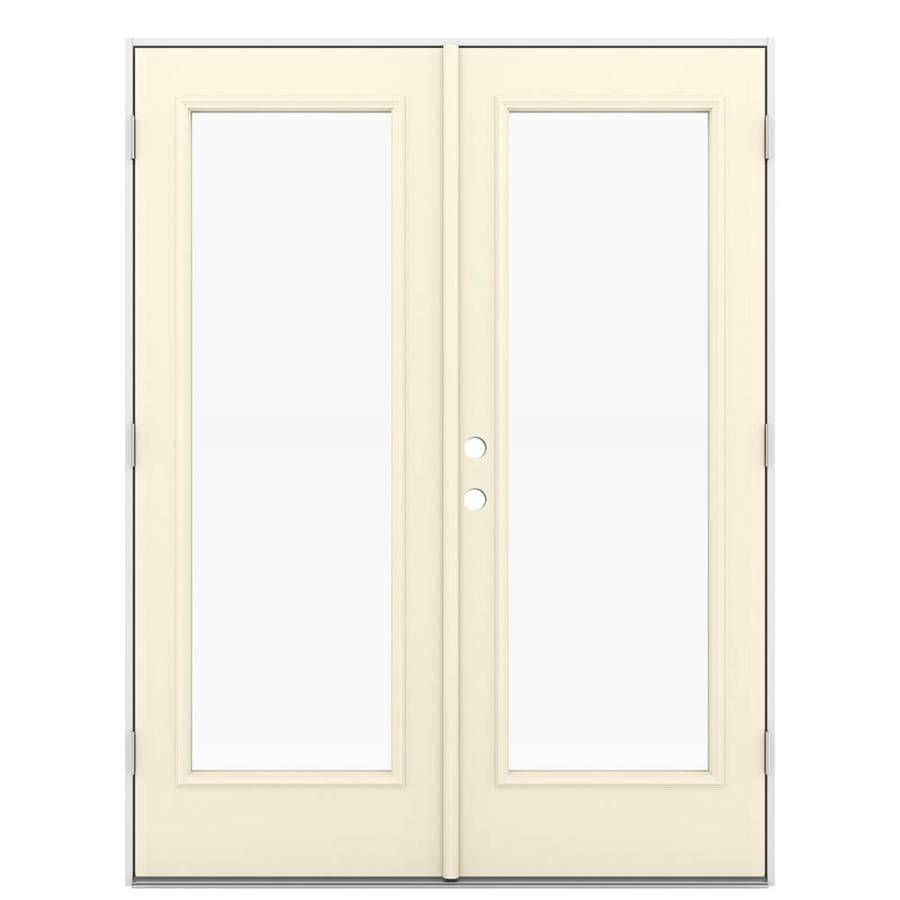 Shop reliabilt 59 5 in 1 lite glass bisque steel french for Outswing french doors