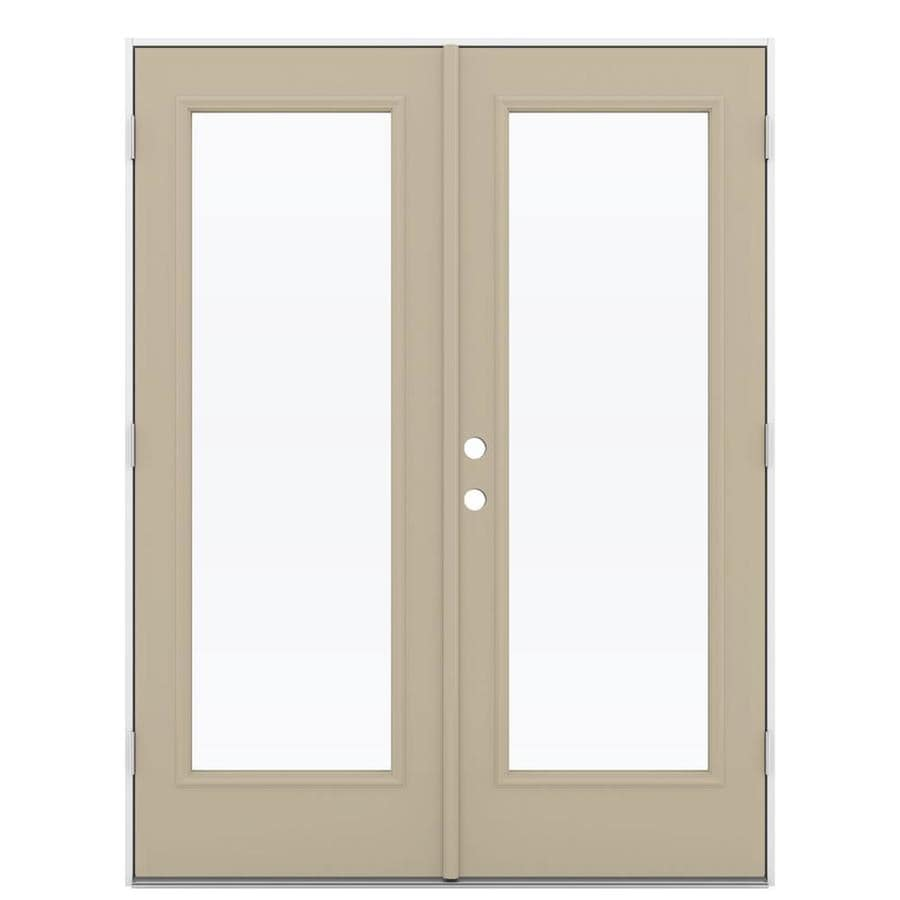 ReliaBilt 59.5-in 1-Lite Glass Sandy Shore Steel French Outswing Patio Door