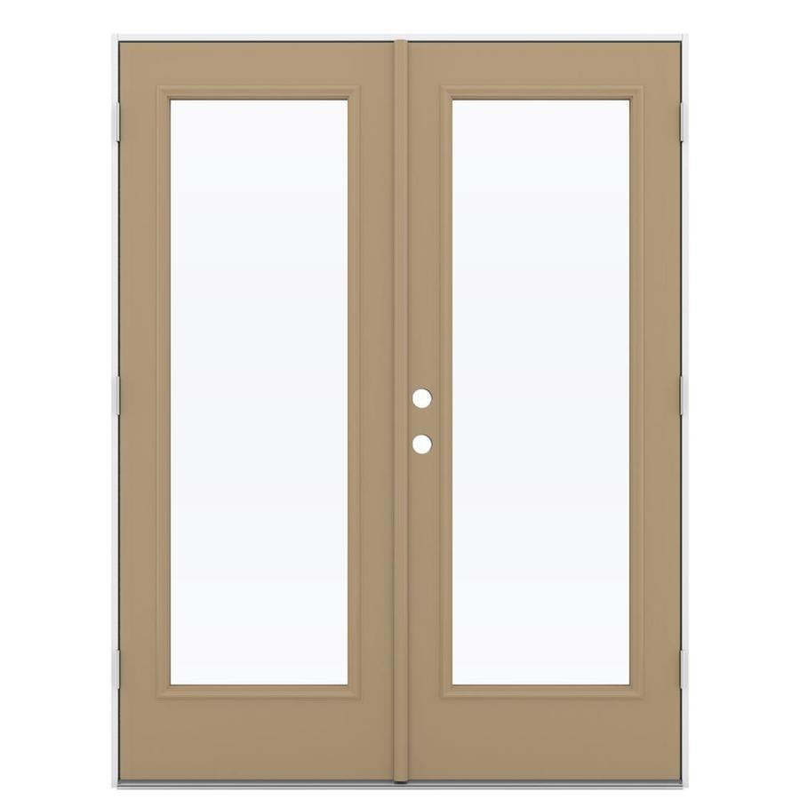 ReliaBilt 59.5-in x 79.5-in Clear Glass Left-Hand Outswing Brown Steel French Patio Door