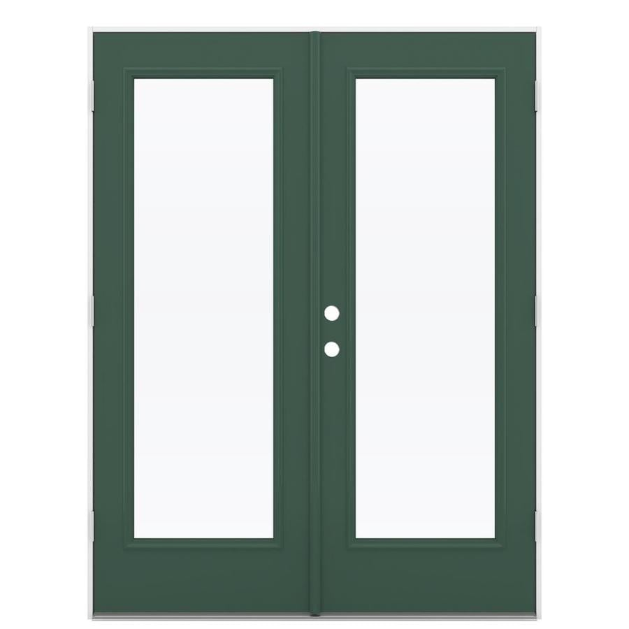 ReliaBilt 59.5-in x 79.5-in Clear Glass Left-Hand Outswing Green Steel French Patio Door
