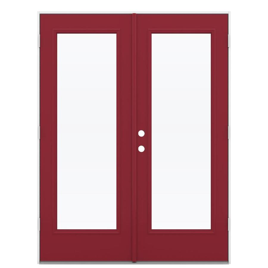 ReliaBilt 59.5-in x 79.5-in Clear Glass Left-Hand Outswing Red Steel French Patio Door