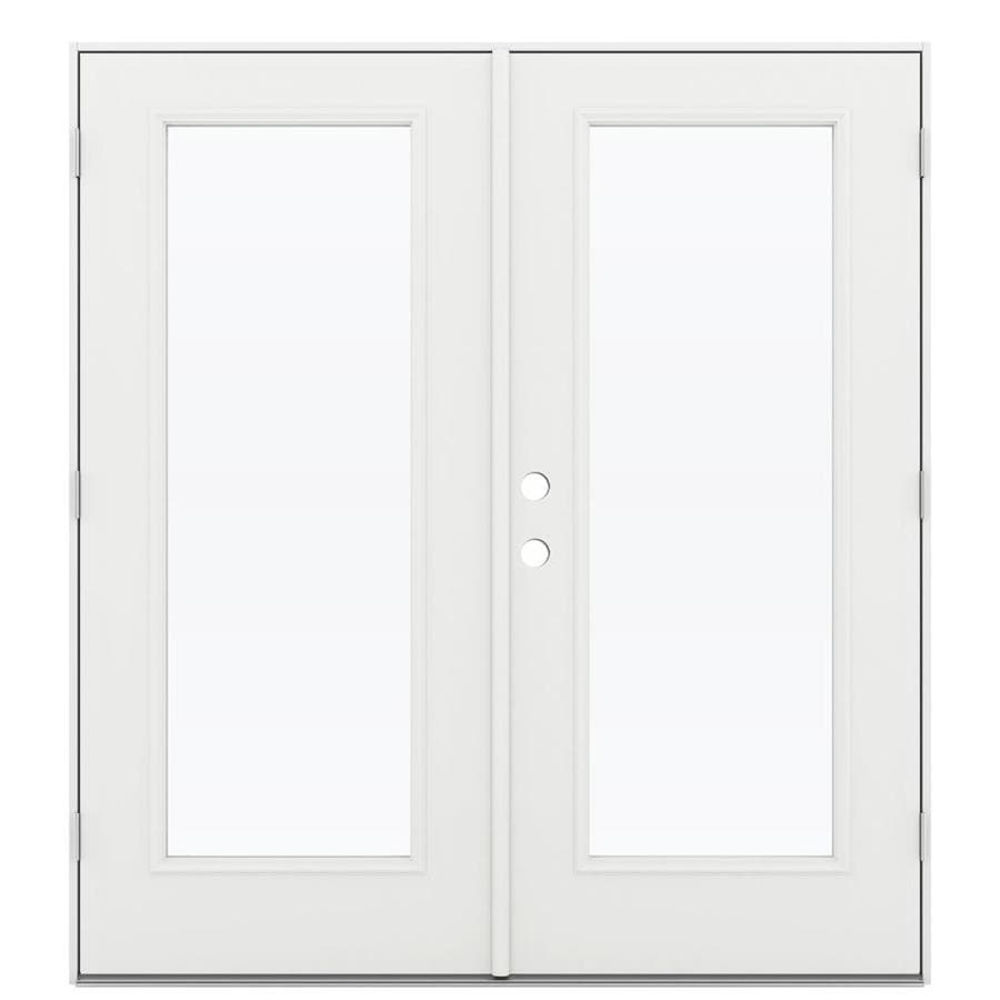 Shop reliabilt 71 5 in 1 lite glass arctic white steel for White french doors