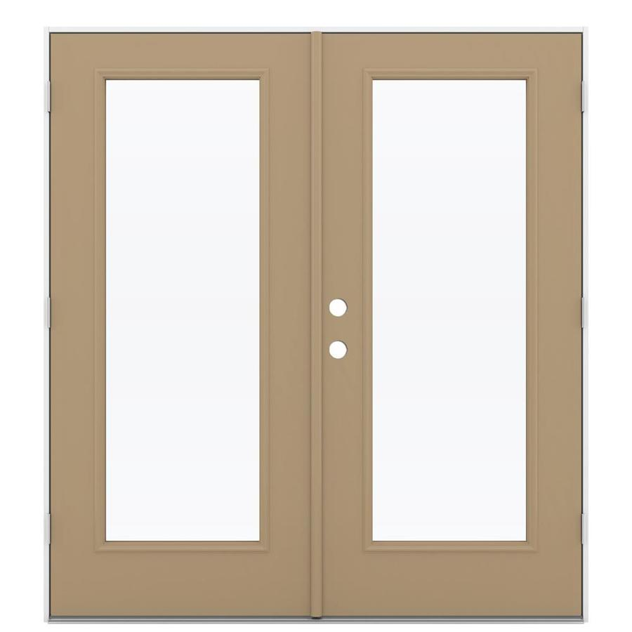 Shop reliabilt 71 5 in 1 lite glass warm wheat steel for Outswing french doors