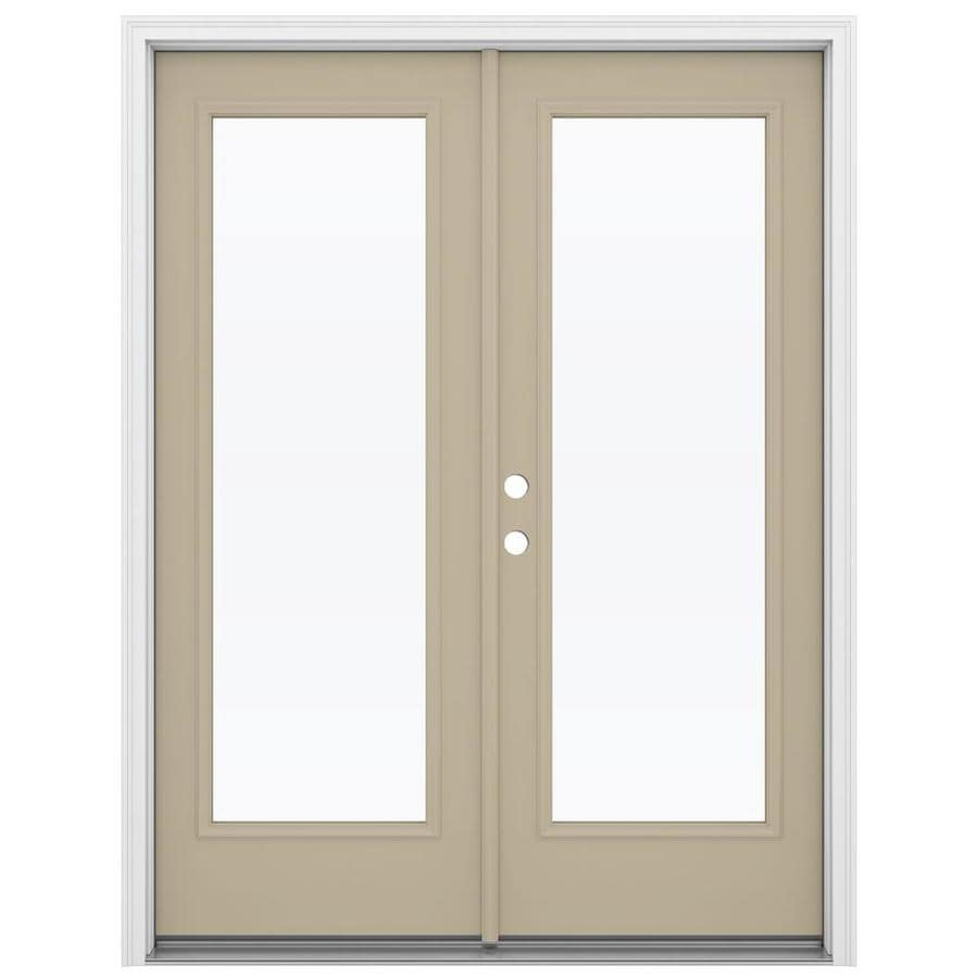 ReliaBilt 59.5-in 1-Lite Glass Sandy Shore Steel French Inswing Patio Door